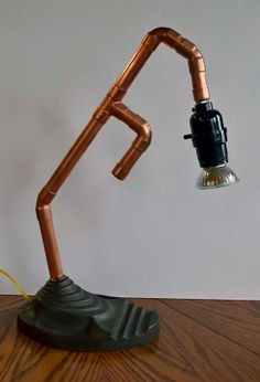 Getting creative with copper! Desk Lamp, Table Lamp, Heating And Plumbing, Pvc Pipe, Vintage Industrial, Recycled Materials, Retro Vintage, Recycling, Copper