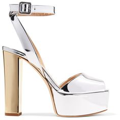 Heel measures approximately 5 inches with a inches platform Silver and gold  mirrored-leather Buckle-fastening ankle strap Designer color  Shooting  Argento ... ffbbbda0c4