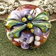 BONUS TODAY ONLY  Lampwork Lavender Dragonfly Garden Focal Bead by Kerribeads