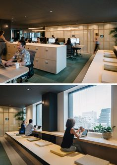 Closed off meeting rooms in this office open to this workspace, that has window seats for looking out at the view while you work. Workspace Design, Office Workspace, Office Interior Design, Office Interiors, Office Decor, Meeting Rooms, Office Meeting, Smart Office, Open Office