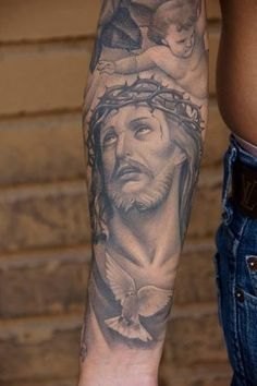 No matter one& faith, we can all respect a good tattoo when we see one. Check out these great tattoos of Jesus Christ. Inner Forearm Tattoo, Forearm Sleeve, Forearm Tattoos, Body Art Tattoos, I Tattoo, Sleeve Tattoos, Tatoos, New Tattoos, Future Tattoos