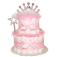 Little Sparkle Princess Diaper Cake -:Diaper Cakes Mall, Unique Baby shower diaper cake WWW.COM~ the only hat guaranteed to fit and stay snug to all newborns! Princess Diaper Cakes, Diaper Cake Boy, Nappy Cakes, Unique Diaper Cakes, Shower Bebe, Girl Shower, Baby Shower Crafts, Baby Shower Parties, Baby Shower Centerpieces