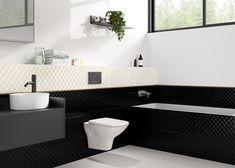 Чёрная плитка в сочетании с золотым бордюром. Глянцевый металлический бордюр в ванной комнате - стильный элемент декора. Бордюр для плитки способен освежить интерьер, подчеркнуть цвет плитки, мебели, добавить акцент #декор#бордюрдляплитки#уютнаякомната#модерн#керамогранит#плитка#золото#трендыдизайна#чернаяплитка Double Vanity, Bathroom, Washroom, Full Bath, Bath, Bathrooms, Double Sink Vanity