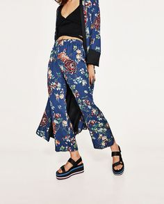 Image 2 of BELL BOTTOM PYJAMA STYLE TROUSERS from Zara