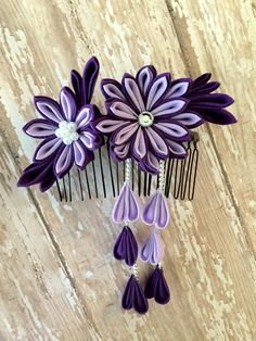 Kanzashi Flower Comb-Purple/ Lavender by LilsHandmadeGarden on Etsy