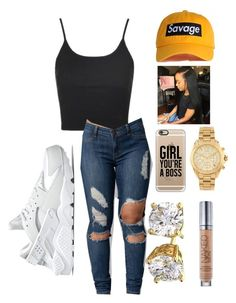 """""""From the Dome while in class """" by goddesstillerr on Polyvore featuring Topshop, Michael Kors, NIKE, Casetify and Urban Decay"""