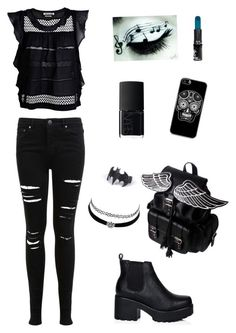 """""""Black"""" by jade9999 ❤ liked on Polyvore featuring Miss Selfridge, Étoile Isabel Marant, NARS Cosmetics, Manic Panic NYC and Charlotte Russe"""