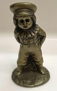 """Vtg Bronze Artist Sculpture Figurine Miniature Statue Victorian Boy Child Cat 3"""" #Vintage"""