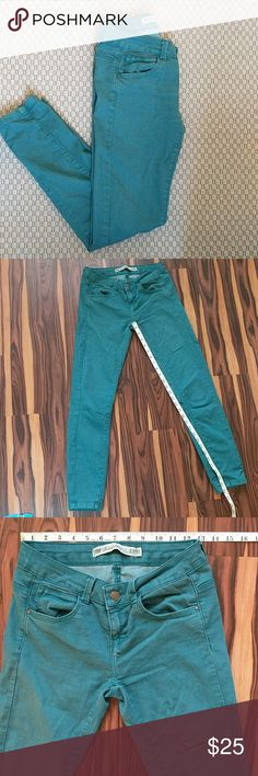 Zara Blue Green Skinny Jeans Zara Blue Green Skinny Jeans. TRF Premium Wash. Good comdition. Tag is stained from the dye. Smoke and pet free home. Zara Jeans Skinny