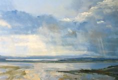 "Zarina Stewart-Clark, 'Early Evening Storm, Sound of Jura' (Oil on panel, 30"" x 41"") http://www.panterandhall.com/Scottish-Show-2014-Gallery.aspx"