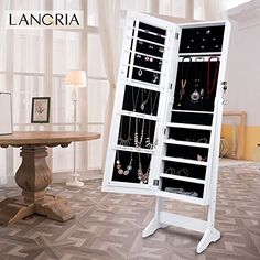 Floor Standing Jewelry Armoire | Dressing mirror, Jewelry cabinet ...