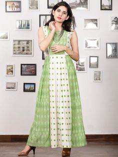 White Pastel Green Long Sleeveless Handwoven Double Ikat Dress With Side Pockets - Kurta Patterns, Dress Patterns, Kalamkari Dresses, Buy Dresses Online, Kurta Designs, Blouse Designs, Indian Designer Wear, Asymmetrical Dress, Simple Dresses