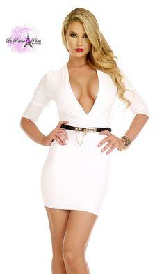 e061c463d Comprar Vestido ajustado de escote muy profundo online Vestidos ajustados  cortos lareinadeparis