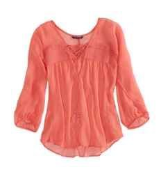 AE Paneled Lace Top | American Eagle Outfitters