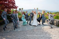 Bridal party on the terrace at Linthwaite House.