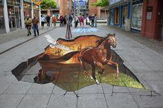 3D Street Art by Nikolaj Arndt - Running Horse
