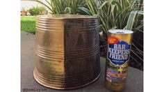 $2 Bar Keepers Friend .. aka, a thrifters best friend // amazing cleaning results (Left side) on this $6 brass bucket from the thrift store. my rubber plant looks so fancy in this shiny little guy!