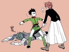 Gon Freecs Mito Freecs and Ging Freecs Hunter x Hunter Mito whipped his ass into place X'D Gon Anime, Manga Anime, Fanarts Anime, Haikyuu Anime, Anime Art, Killua, Hisoka, Hunter X Hunter, Hunter Anime