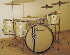 "1970's SLINGERLAND Buddy Rich Set. White marine pearl, sound king lugs, stick safer hoops. BD 24""x14"" TT 13""x9"" 2x FT 16""x16"" SD 14""x5.5"""