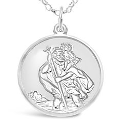 Sterling Silver St Christopher Medal with 18' Chain - Plane, Boat and Car on Back
