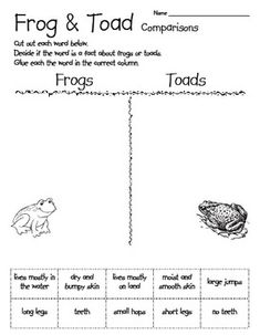 A fun way to tie science into your Frog and Toad unit.  A simple, cut and paste activity to compare facts about frogs and toads.