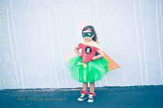 Robin Super Hero Tutu Costume inspired by Batman include tutu, shirt, cape and mask. $57.95, via Etsy.