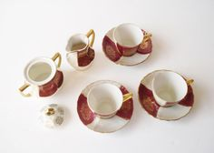 Vintage Demitasse Set with Creamer and Sugar, Porcelain Cups and Saucers, Lusterware Espresso Cups and Saucers