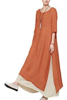 Mordenmiss Women's Cotton Linen Dress Summer Lantern Loose Midi Dress Casual Tunic with Pockets Fashion Pants, Hijab Fashion, Fashion Dresses, Casual Dresses, Summer Dresses, Maxi Dresses, Summer Maxi, Western Dresses For Women, Mode Hijab