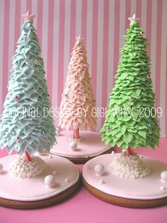 Edible Christmas trees with peppermint trunks!