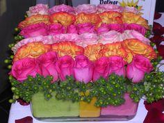 Rose centerpiece with colored foam