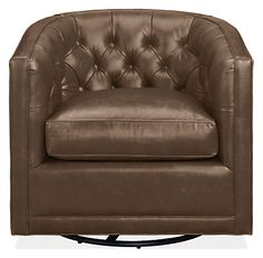 Attractive from every angle, Maurice is a classic barrel chair made modern. Expertly crafted diamond button tufts accent the plush back, which hugs you in comfort. A statement leather swivel chair that looks great in pairs or by itself, Maurice brings an air of refinement to any room.