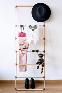 Perchero DIY de madera y cobre Blog Mo-lo | DIY | Deco | Clotingrack