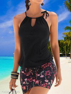 Women Dress Sleeveless Retro Halter Print Beach Mini Dress, Black / S Bathing Suits One Piece, Cute Bathing Suits, One Piece Swimwear, Swimwear Sale, Swimwear Fashion, Beach Dresses, Summer Dresses, Maxi Dresses, Dress Beach
