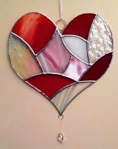 Stained Glass Modern Patchwork Heart  in Reds by SusesStainedGlass