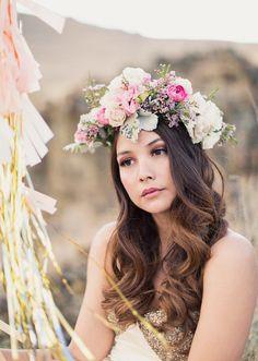 Long hair w/ floral crown, Alixann Loosle