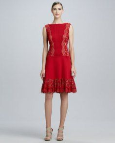 Tadashi Shoji Sleeveless Cocktail Dress with Pintucked Bodice - Neiman Marcus Neiman Marcus Cocktail Dresses, Tadashi Shoji, Fit And Flare, Evening Gowns, Nice Dresses, Bodice, Style, Chandelier Earrings, Diaries
