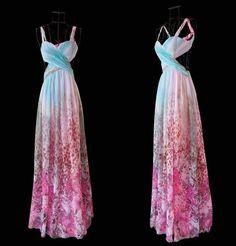 Reserved For Nadja Vinatge 70s Floral Maxi Halter Dress / Open ...