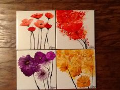 Alcohol ink coasters on ceramic tile