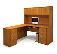 Bestar L Shaped Desk W/Hutch Overall Dimensions: 66 1/4
