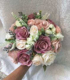 Mauve Wedding Boho Bridal Bouquet Dusty Rose Wedding Bouquet Dusty Greenery Artificial Faux Flowers Size of the bridal bouquet is approximately 15 Wedding Flower Guide, Floral Crown Wedding, Dusty Rose Wedding, Rose Wedding Bouquet, Purple Wedding Flowers, Bridal Flowers, Rose Bouquet, Wedding Colors, Wedding Ideas