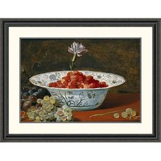 "Global Gallery 'Strawberries with a Carnation' by Frans Snyders Framed Painting Print Size: 30.88"" H x 40"" W x 1.5"" D"