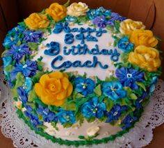 Buttercream floral cake for a special coach's birthday celebration.