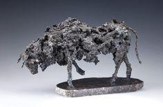 """Tired of Provincial Bull"" by Eamonn Higgins. Steel Sculpture, Lion Sculpture, Northern Irish, Northern Ireland, Dates, Make Beauty, Art Decor, Vibrant, Statue"