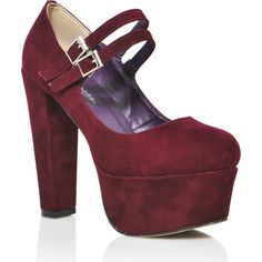 Red wine Suede High Heel Platform Mary-Jane Pump ❤ liked on Polyvore