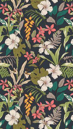 illustration Trendy wallpaper pattern floral tropical prints ideas Breaking t Floral Pattern Wallpaper, Pattern Floral, Flower Wallpaper, Pattern Art, Tropical Pattern, Botanical Wallpaper, Surface Pattern, Floral Wallpaper Phone, Vintage Wallpaper Patterns