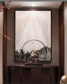 山水水墨画现代新中式装饰画客厅书房卧室壁...: