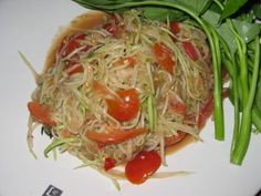 laos green papaya salad, serve it up with sticky rice and wow