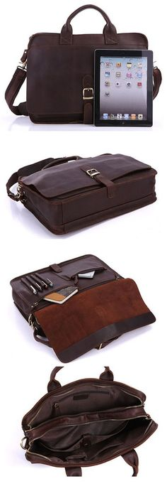 Mens Genuine Leather Briefcase Laptop Tote Bags Shoulder Business Messenger Bags(A123) - Thumbnail 4