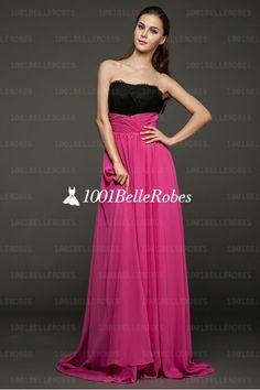 robe de star collection 2014 en mousseline fuchsia avec bustier dentelle noire