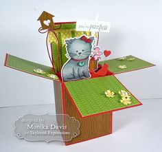 Graysie Box in a Card by Monika Davis #Cardmaking, #CardinaBox, #Critters, #Encouragement, #TEMatched, #ShareJoy, #TE